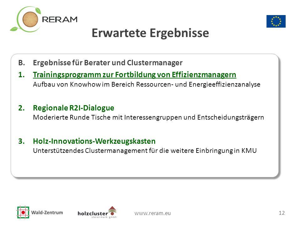 www.reram.eu 12 Erwartete Ergebnisse B. Ergebnisse für Berater und Clustermanager 1.Trainingsprogramm zur Fortbildung von Effizienzmanagern Aufbau von