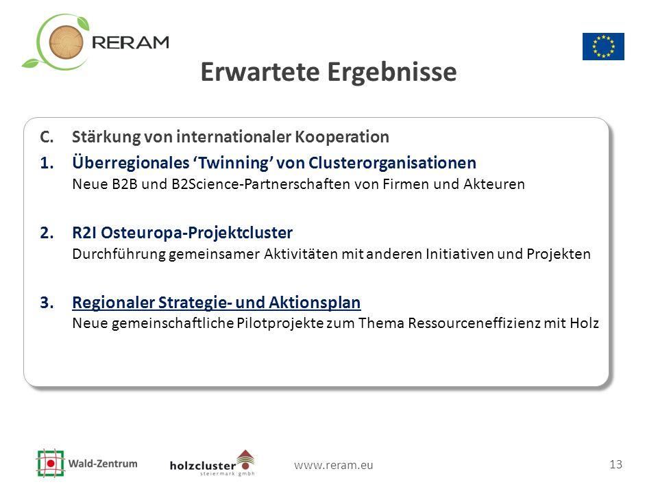 www.reram.eu 13 Erwartete Ergebnisse C. Stärkung von internationaler Kooperation 1.Überregionales 'Twinning' von Clusterorganisationen Neue B2B und B2