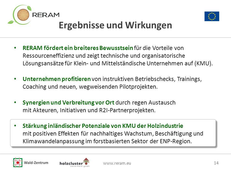 www.reram.eu 14 Ergebnisse und Wirkungen RERAM fördert ein breiteres Bewusstsein für die Vorteile von Ressourceneffizienz und zeigt technische und org