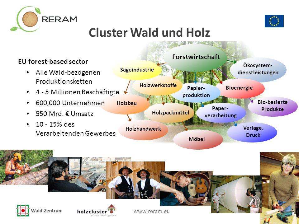 www.reram.eu 2 Cluster Wald und Holz Ökosystem- dienstleistungen Bio-basierte Produkte Bioenergie Möbel Holzpackmittel Verlage, Druck Holzhandwerk Pap