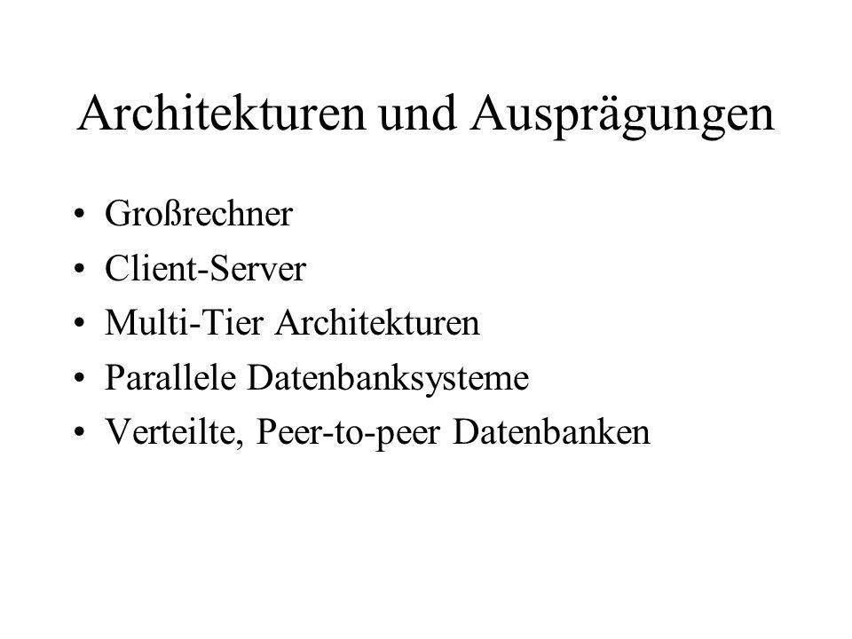 Architekturen und Ausprägungen Großrechner Client-Server Multi-Tier Architekturen Parallele Datenbanksysteme Verteilte, Peer-to-peer Datenbanken