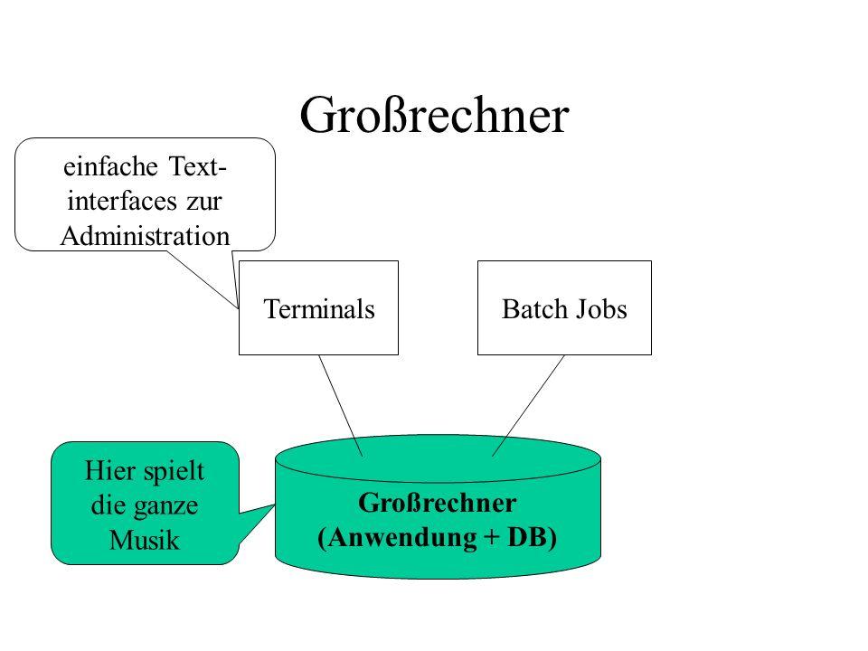 Großrechner Großrechner (Anwendung + DB) TerminalsBatch Jobs einfache Text- interfaces zur Administration Hier spielt die ganze Musik