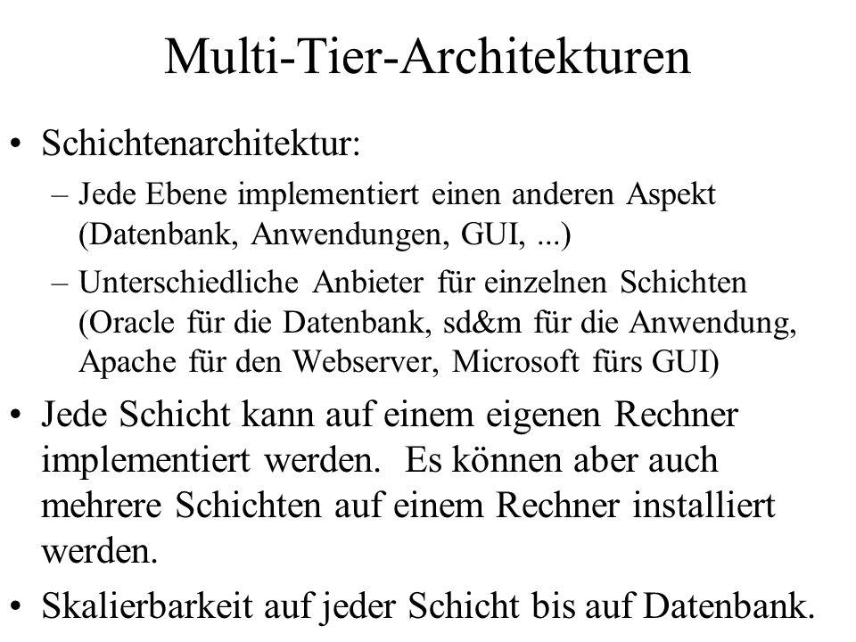 Multi-Tier-Architekturen Schichtenarchitektur: –Jede Ebene implementiert einen anderen Aspekt (Datenbank, Anwendungen, GUI,...) –Unterschiedliche Anbieter für einzelnen Schichten (Oracle für die Datenbank, sd&m für die Anwendung, Apache für den Webserver, Microsoft fürs GUI) Jede Schicht kann auf einem eigenen Rechner implementiert werden.