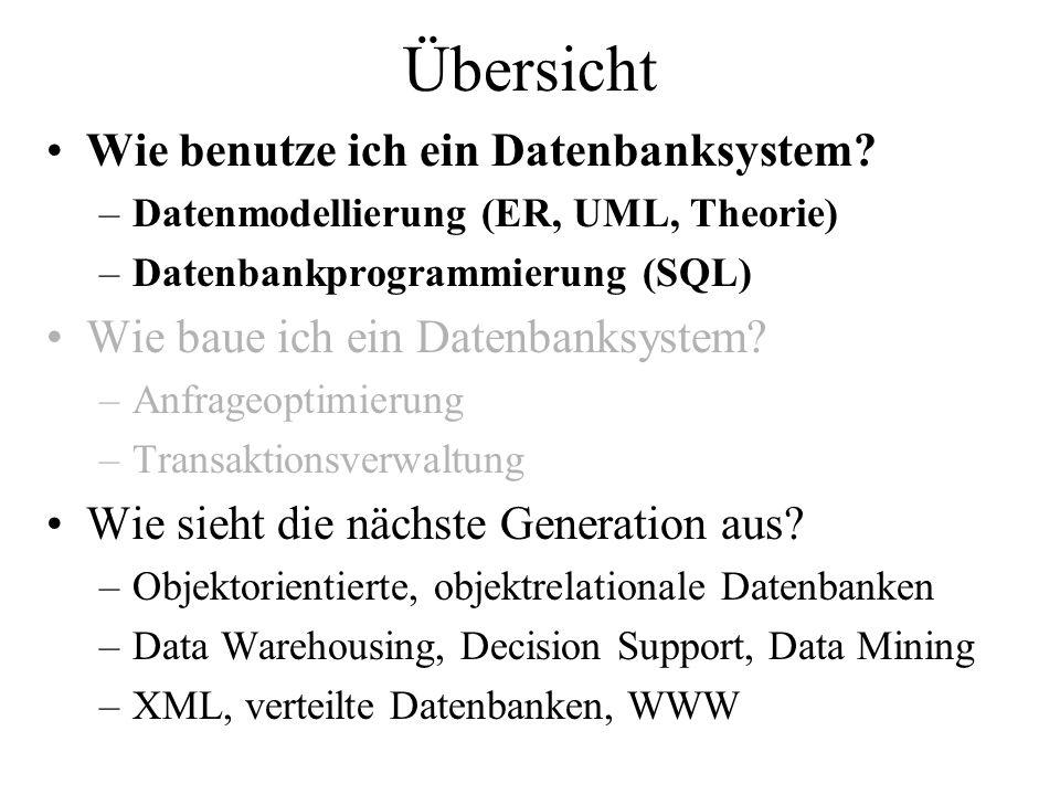 Vorlesungsplan Week No.Date (Mi)Topic LectureÜbungen Topic 120.2.2008Einführung, DB Architekturen- 227.2.2008ER Modellierung I- 35.3.2008ER Modellierung IIER Modellierung, Start Projekt 412.3.2008Relationales ModellER, Modellierung 519.3.2008SQL IRelationales Modell 62.4.2008SQL IISQL 79.4.2008SQL IIISQL 816.4.2008Integritätsbedingungen- (Sechseläuten) 923.4.2008Entwurfstheorie IProjekt: Etappe I 1030.4.2008Entwurfstheorie IIIntegritätsbed.