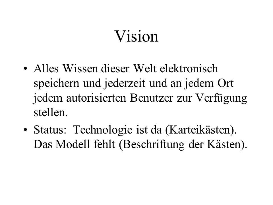 Vision Alles Wissen dieser Welt elektronisch speichern und jederzeit und an jedem Ort jedem autorisierten Benutzer zur Verfügung stellen. Status: Tech