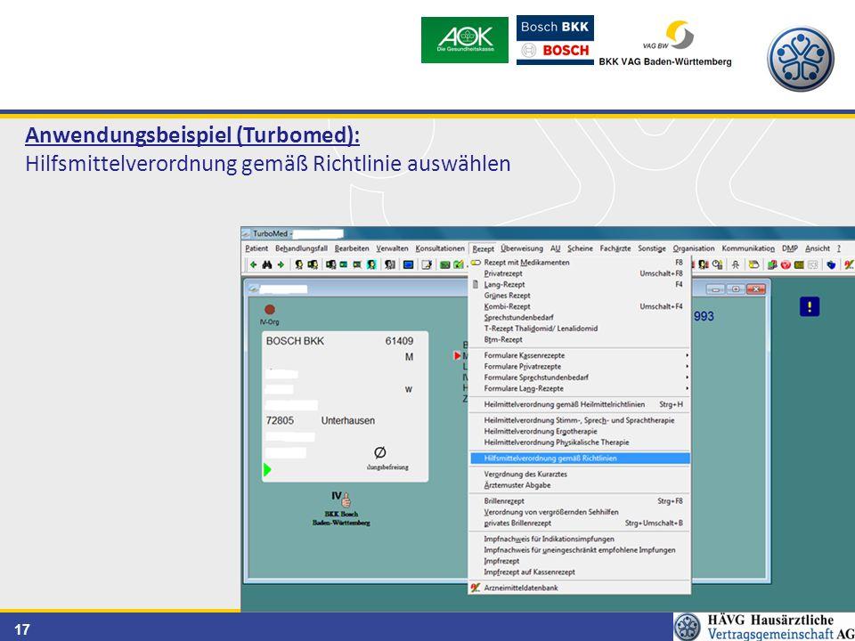 17 Anwendungsbeispiel (Turbomed): Hilfsmittelverordnung gemäß Richtlinie auswählen