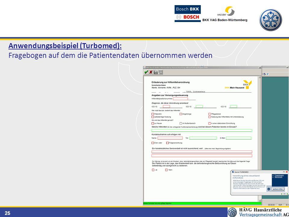 25 Anwendungsbeispiel (Turbomed): Fragebogen auf dem die Patientendaten übernommen werden