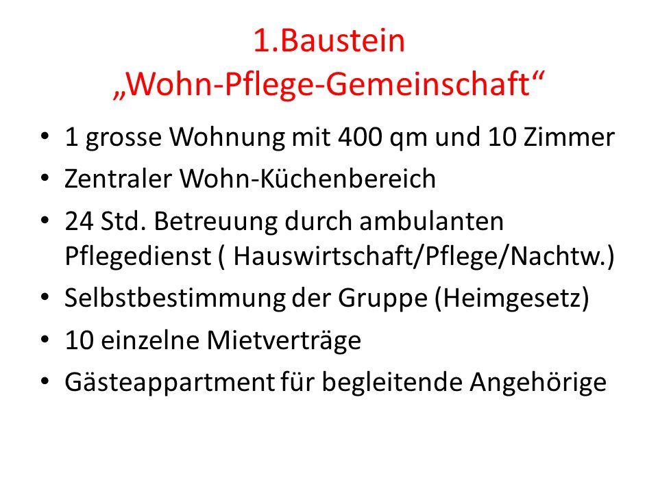 """1.Baustein """"Wohn-Pflege-Gemeinschaft 1 grosse Wohnung mit 400 qm und 10 Zimmer Zentraler Wohn-Küchenbereich 24 Std."""