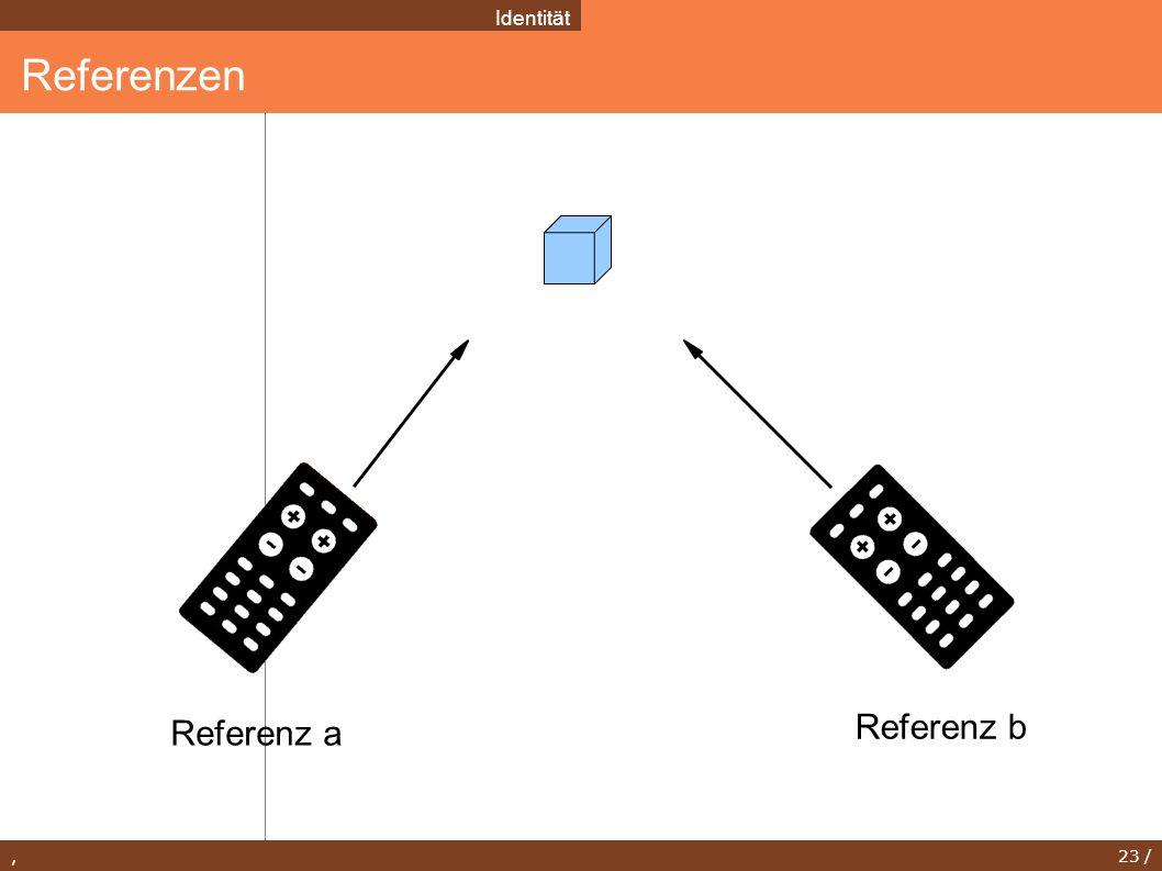 , 23 / Referenzen Identität Referenz a Referenz b