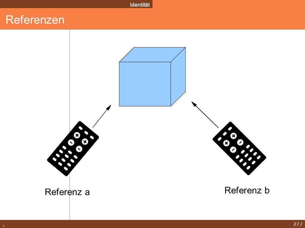 , 27 / Referenzen Identität Referenz a Referenz b