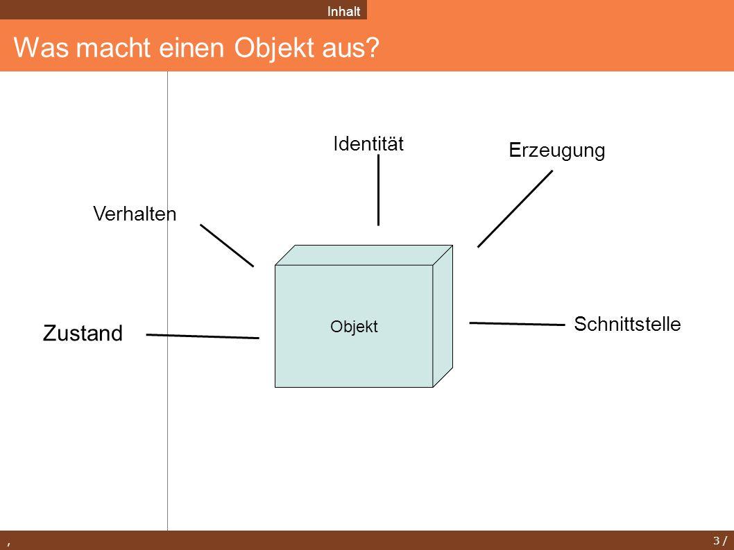 , 3 / Was macht einen Objekt aus? Inhalt Zustand Verhalten Identität Schnittstelle Objekt Erzeugung