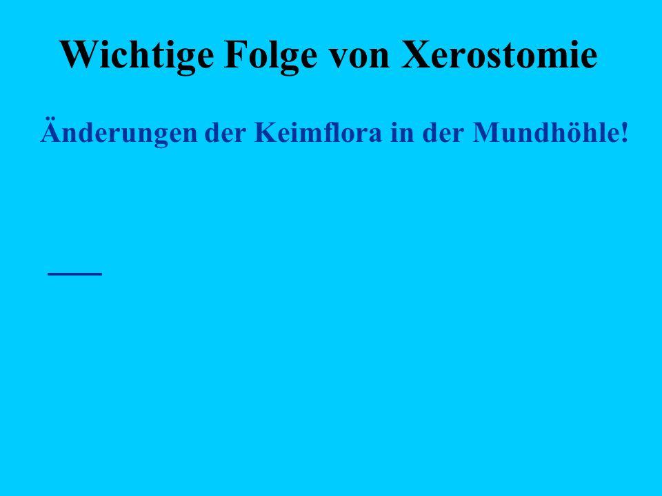 Wichtige Folge von Xerostomie Änderungen der Keimflora in der Mundhöhle!