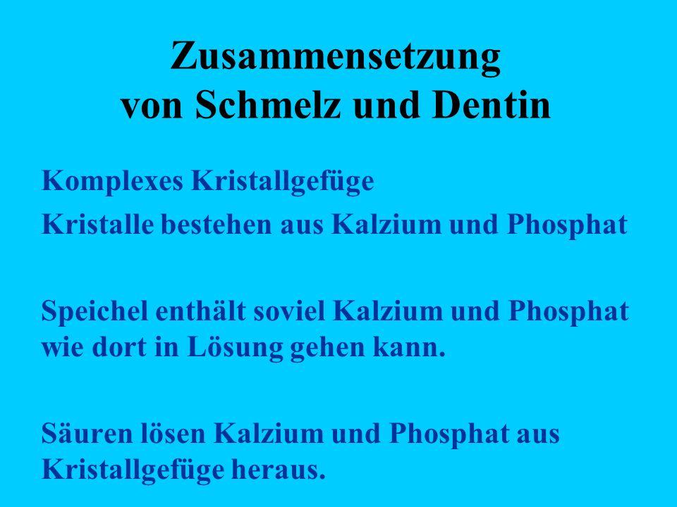 Zusammensetzung von Schmelz und Dentin Komplexes Kristallgefüge Kristalle bestehen aus Kalzium und Phosphat Speichel enthält soviel Kalzium und Phosphat wie dort in Lösung gehen kann.