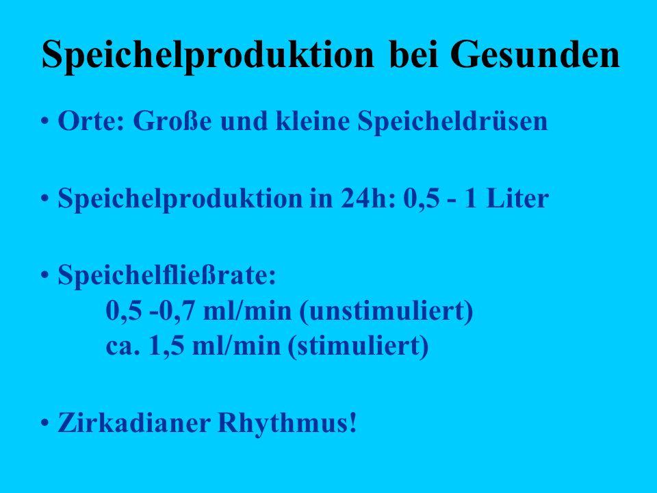 Speichelproduktion bei Gesunden Orte: Große und kleine Speicheldrüsen Speichelproduktion in 24h: 0,5 - 1 Liter Speichelfließrate: 0,5 -0,7 ml/min (uns