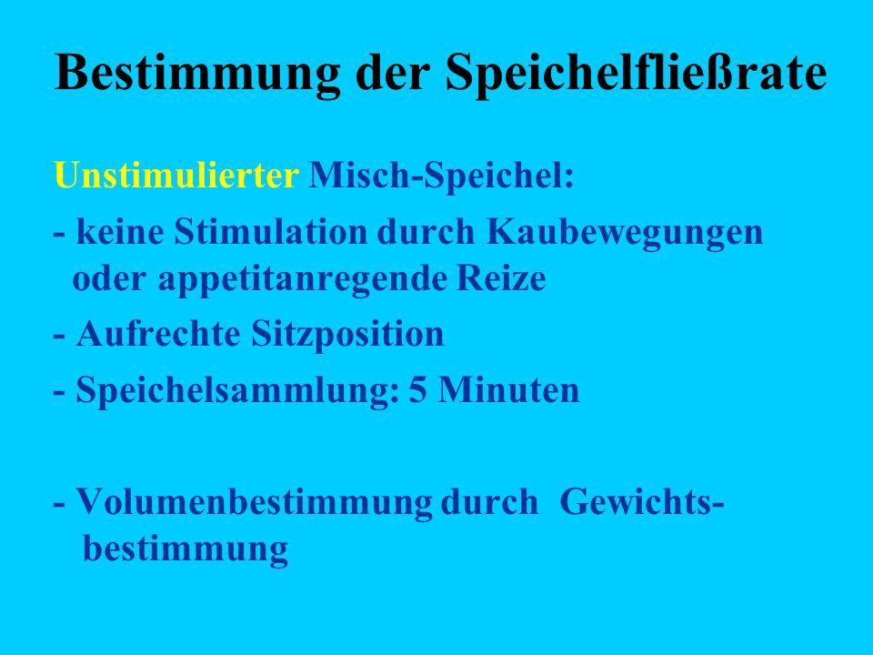 Bestimmung der Speichelfließrate Unstimulierter Misch-Speichel: - keine Stimulation durch Kaubewegungen oder appetitanregende Reize - Aufrechte Sitzposition - Speichelsammlung: 5 Minuten - Volumenbestimmung durch Gewichts- bestimmung
