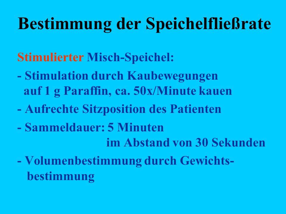 Bestimmung der Speichelfließrate Stimulierter Misch-Speichel: - Stimulation durch Kaubewegungen auf 1 g Paraffin, ca. 50x/Minute kauen - Aufrechte Sit