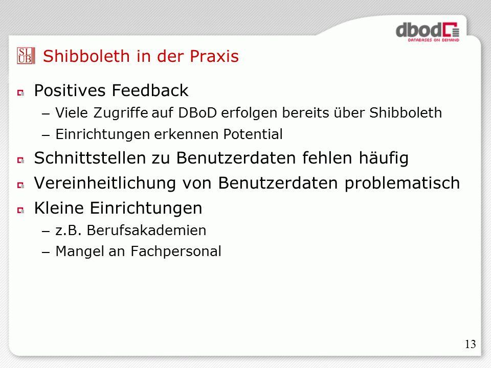 13 Shibboleth in der Praxis Positives Feedback – Viele Zugriffe auf DBoD erfolgen bereits über Shibboleth – Einrichtungen erkennen Potential Schnittstellen zu Benutzerdaten fehlen häufig Vereinheitlichung von Benutzerdaten problematisch Kleine Einrichtungen – z.B.