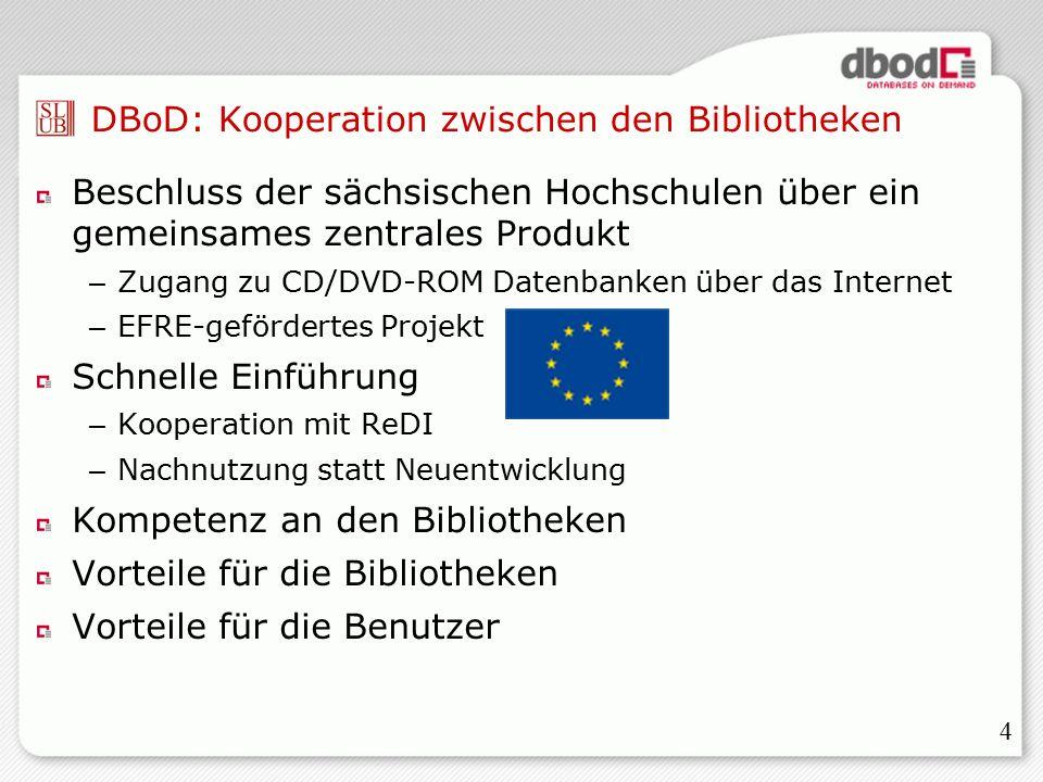 4 DBoD: Kooperation zwischen den Bibliotheken Beschluss der sächsischen Hochschulen über ein gemeinsames zentrales Produkt – Zugang zu CD/DVD-ROM Datenbanken über das Internet – EFRE-gefördertes Projekt Schnelle Einführung – Kooperation mit ReDI – Nachnutzung statt Neuentwicklung Kompetenz an den Bibliotheken Vorteile für die Bibliotheken Vorteile für die Benutzer