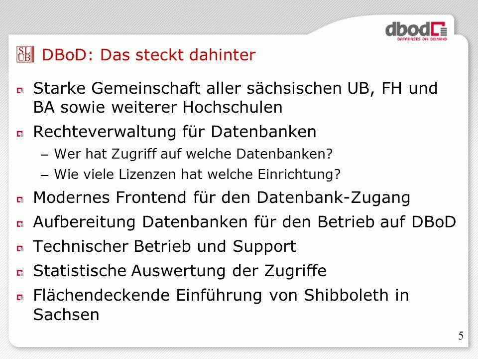 5 DBoD: Das steckt dahinter Starke Gemeinschaft aller sächsischen UB, FH und BA sowie weiterer Hochschulen Rechteverwaltung für Datenbanken – Wer hat Zugriff auf welche Datenbanken.