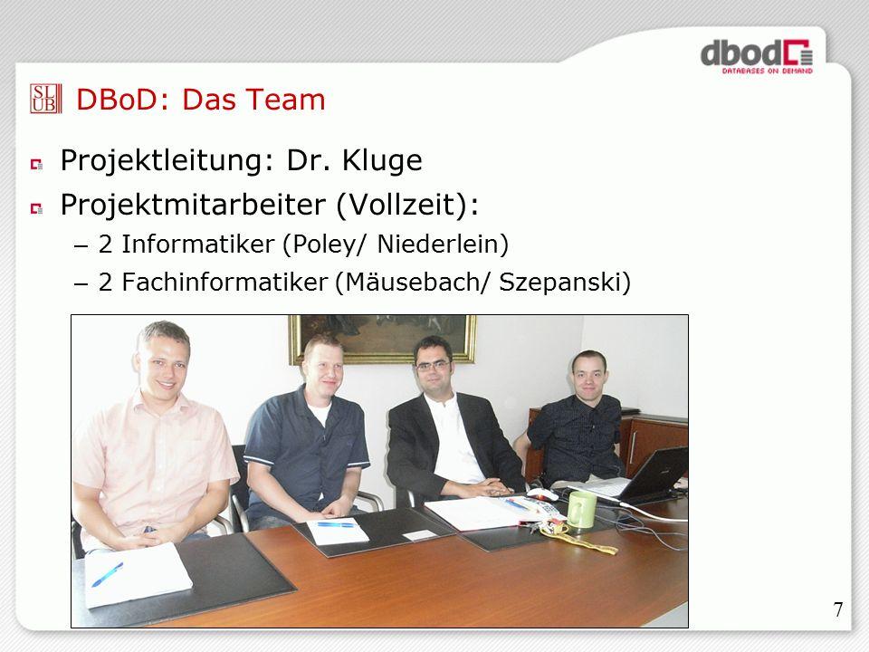 7 DBoD: Das Team Projektleitung: Dr.
