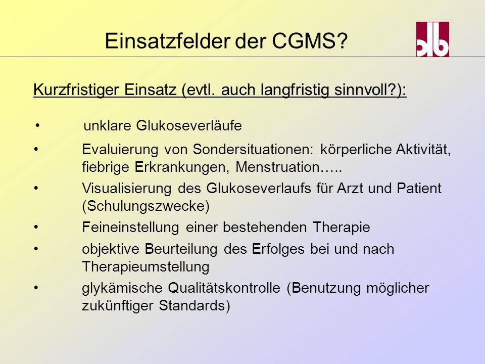 Evaluierung von Sondersituationen: körperliche Aktivität, fiebrige Erkrankungen, Menstruation….. Visualisierung des Glukoseverlaufs für Arzt und Patie