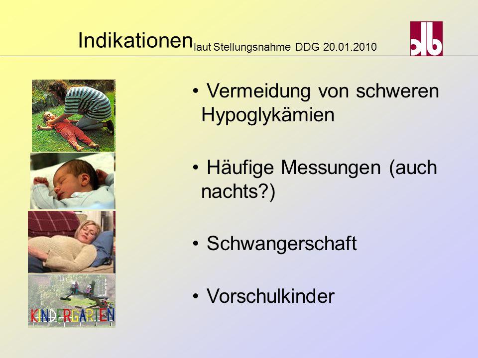 Indikationen laut Stellungsnahme DDG 20.01.2010 Vermeidung von schweren Hypoglykämien Häufige Messungen (auch nachts?) Schwangerschaft Vorschulkinder