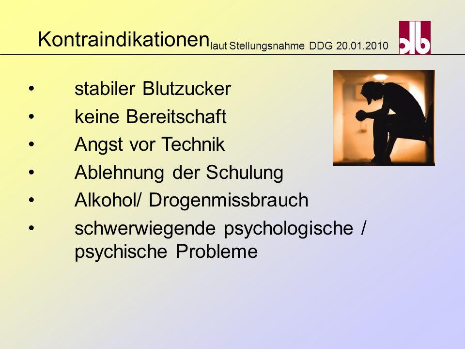Kontraindikationen laut Stellungsnahme DDG 20.01.2010 stabiler Blutzucker keine Bereitschaft Angst vor Technik Ablehnung der Schulung Alkohol/ Drogenm