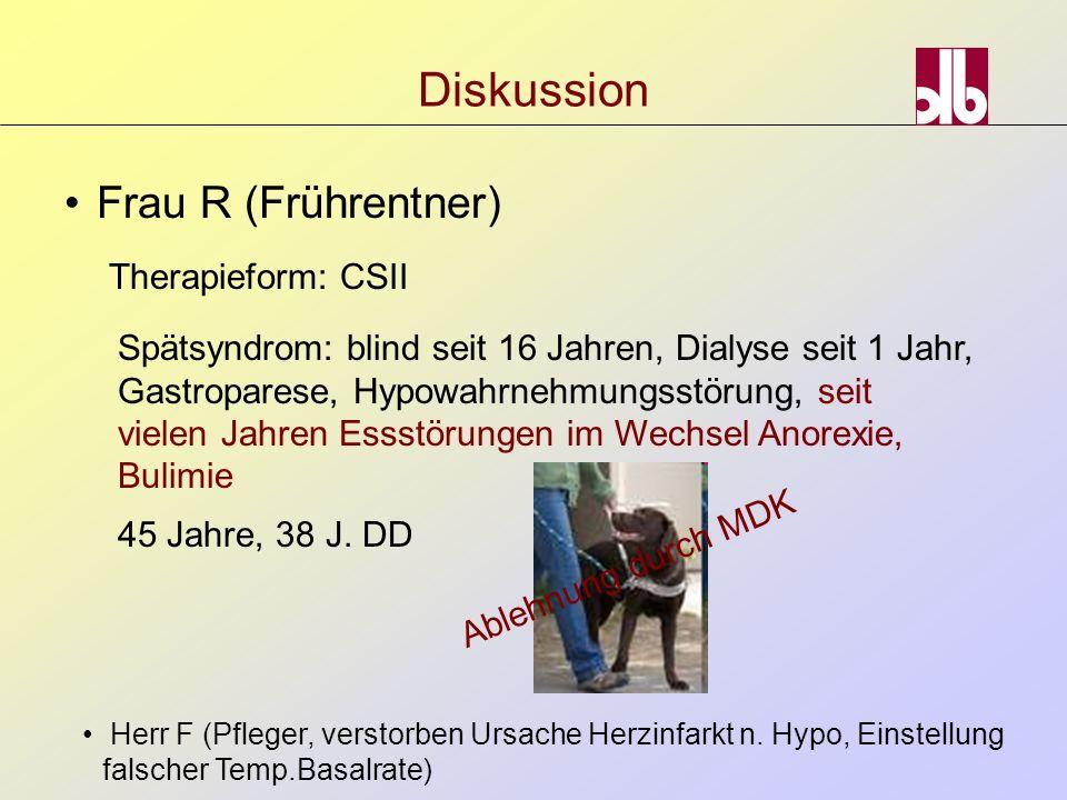 Frau R (Frührentner) Diskussion Therapieform: CSII Spätsyndrom: blind seit 16 Jahren, Dialyse seit 1 Jahr, Gastroparese, Hypowahrnehmungsstörung, seit