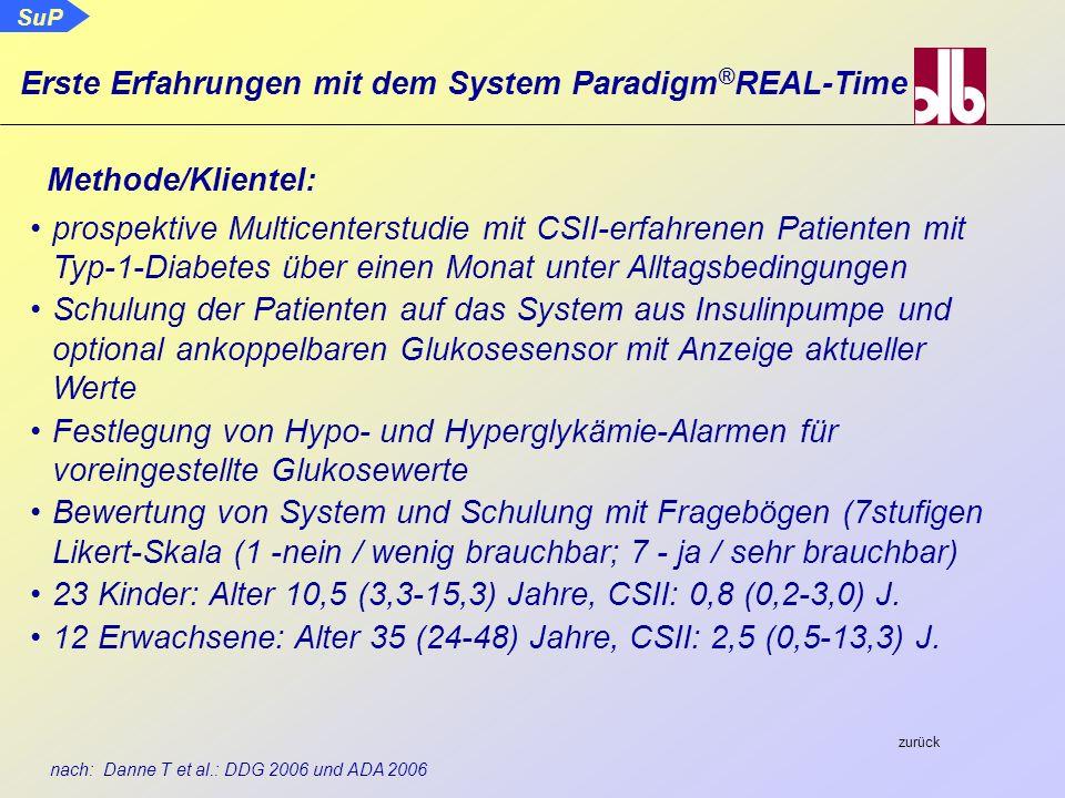 nach: Danne T et al.: DDG 2006 und ADA 2006 Methode/Klientel: prospektive Multicenterstudie mit CSII-erfahrenen Patienten mit Typ-1-Diabetes über eine