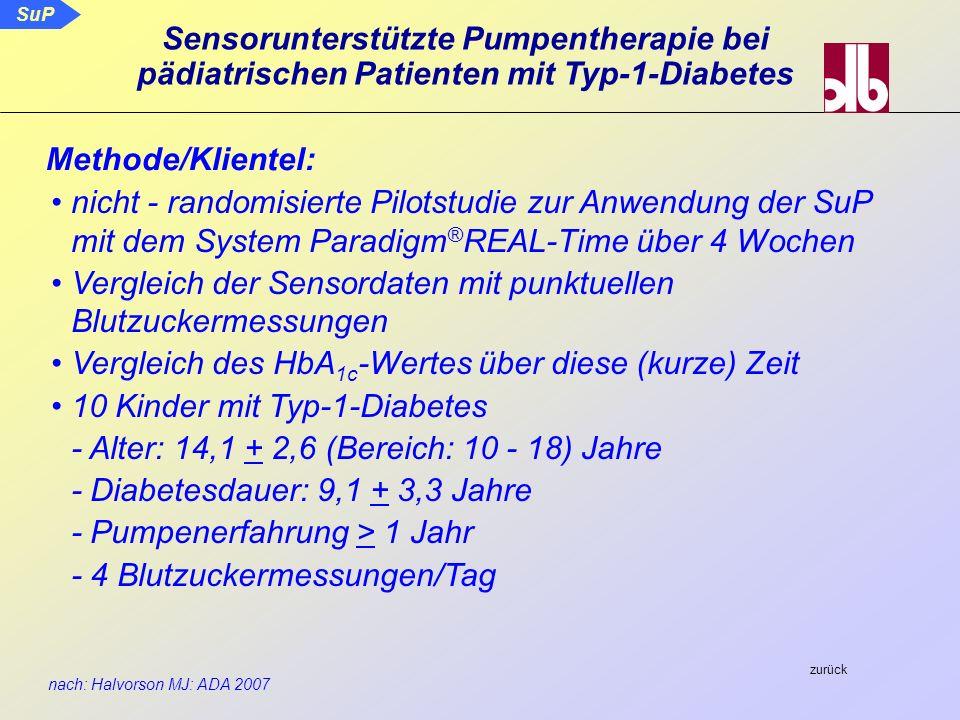 SuP nach: Halvorson MJ: ADA 2007 Sensorunterstützte Pumpentherapie bei pädiatrischen Patienten mit Typ-1-Diabetes nicht - randomisierte Pilotstudie zu