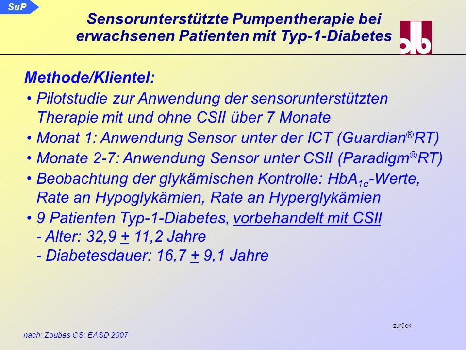 SuP nach: Zoubas CS: EASD 2007 Sensorunterstützte Pumpentherapie bei erwachsenen Patienten mit Typ-1-Diabetes Pilotstudie zur Anwendung der sensorunte