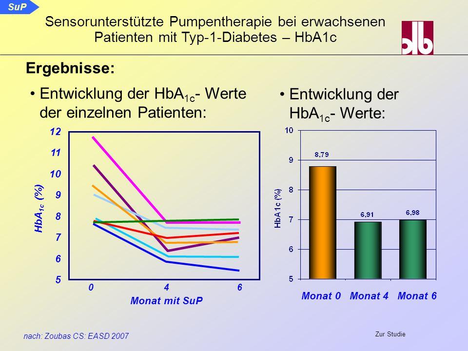 SuP nach: Zoubas CS: EASD 2007 Sensorunterstützte Pumpentherapie bei erwachsenen Patienten mit Typ-1-Diabetes – HbA1c Ergebnisse: Entwicklung der HbA