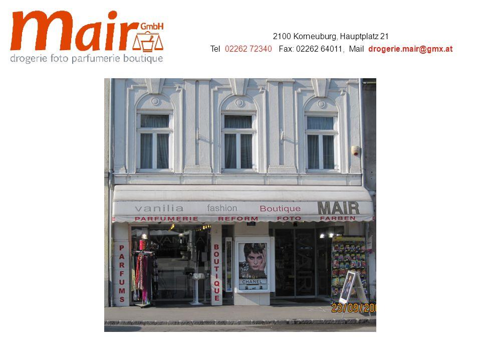 2100 Korneuburg, Hauptplatz 21 Tel: 02262 72340, Fax: 02262 64011, Mail: drogerie.mair@gmx.at … p r ä s e n t i e r t … einen Rundgang durch ihr Geschäft