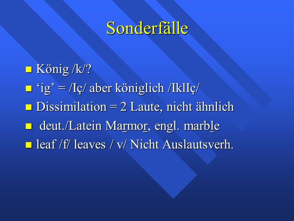 Sonderfälle König /k/. König /k/.