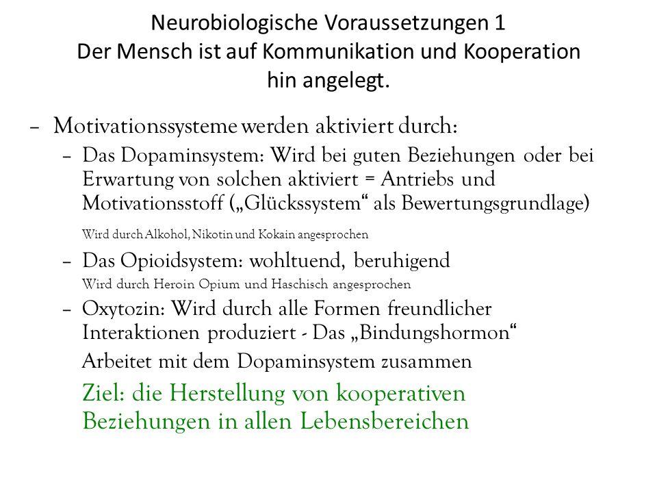 Neurobiologische Voraussetzungen 1 Der Mensch ist auf Kommunikation und Kooperation hin angelegt. –Motivationssysteme werden aktiviert durch: –Das Dop