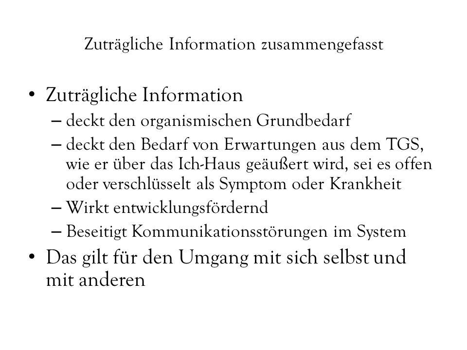"""Zuträgliche Information allgemein = Information die """"gut tut z.B."""