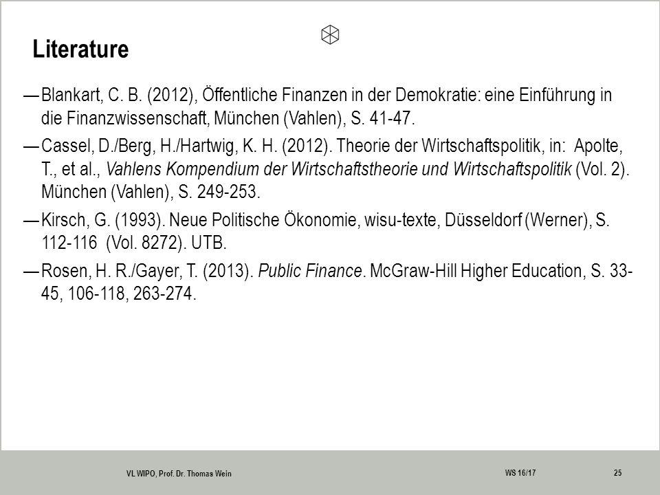 Literature 25 VL WIPO, Prof. Dr. Thomas Wein WS 16/17 —Blankart, C.