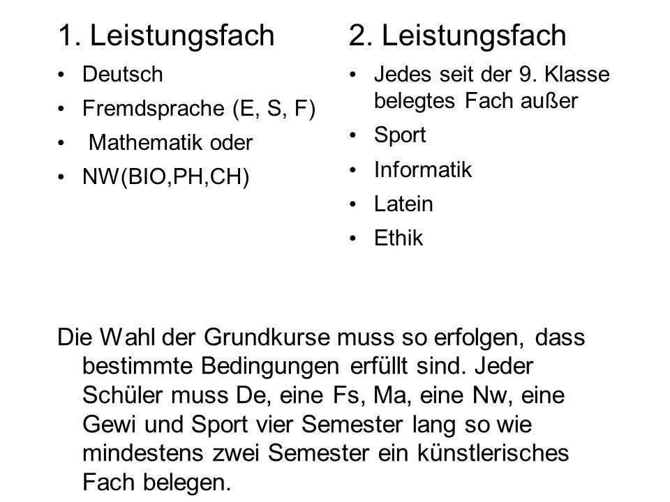 1. Leistungsfach Deutsch Fremdsprache (E, S, F) Mathematik oder NW(BIO,PH,CH) 2.