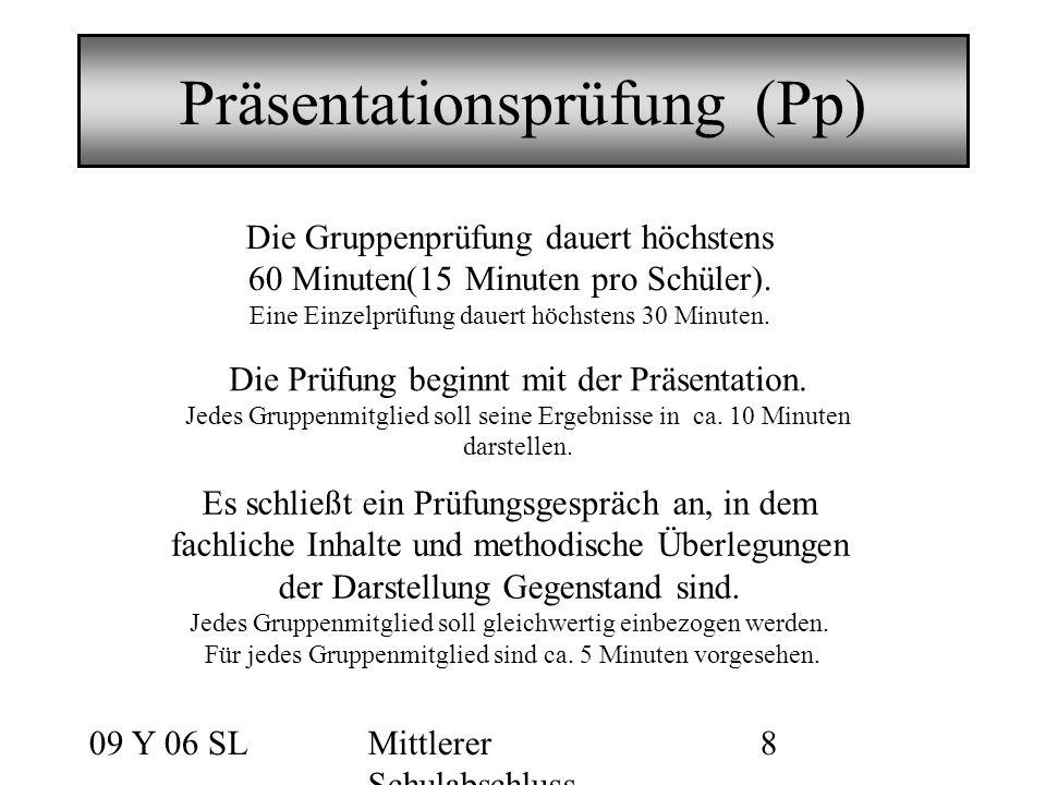 09 Y 06 SLMittlerer Schulabschluss 8 Präsentationsprüfung (Pp) Die Gruppenprüfung dauert höchstens 60 Minuten(15 Minuten pro Schüler).