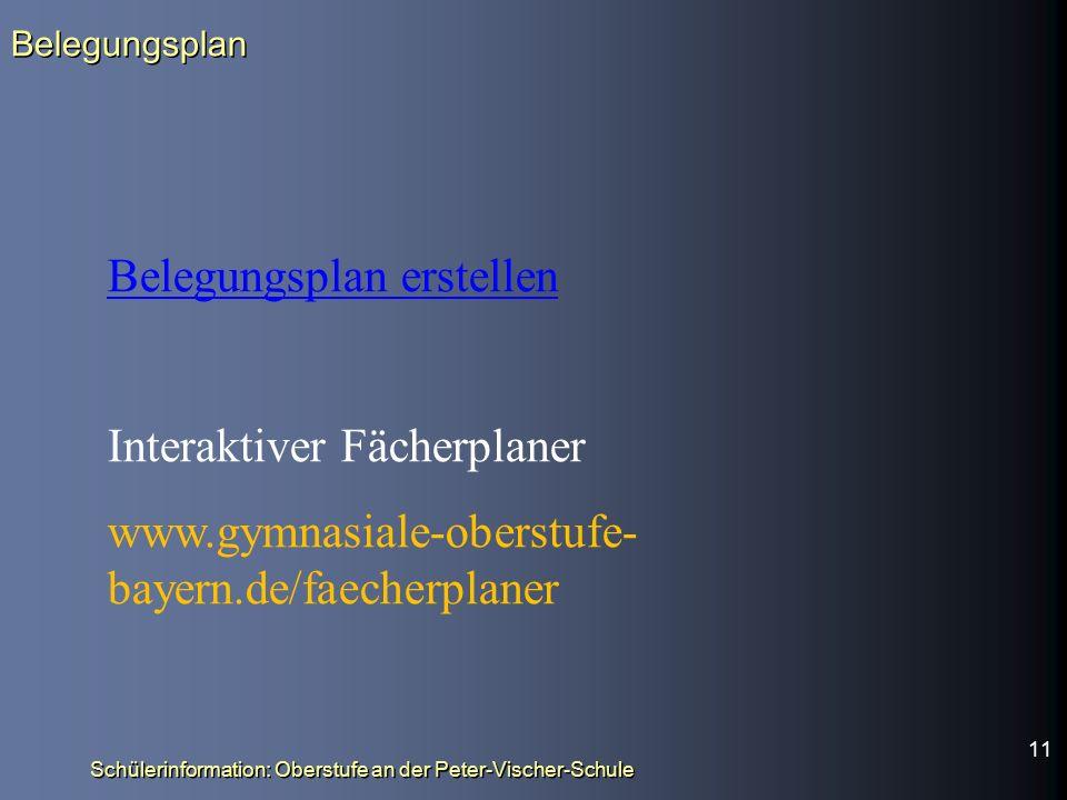 Belegungsplan erstellen Interaktiver Fächerplaner www.gymnasiale-oberstufe- bayern.de/faecherplaner Belegungsplan Schülerinformation: Oberstufe an der Peter-Vischer-Schule 11