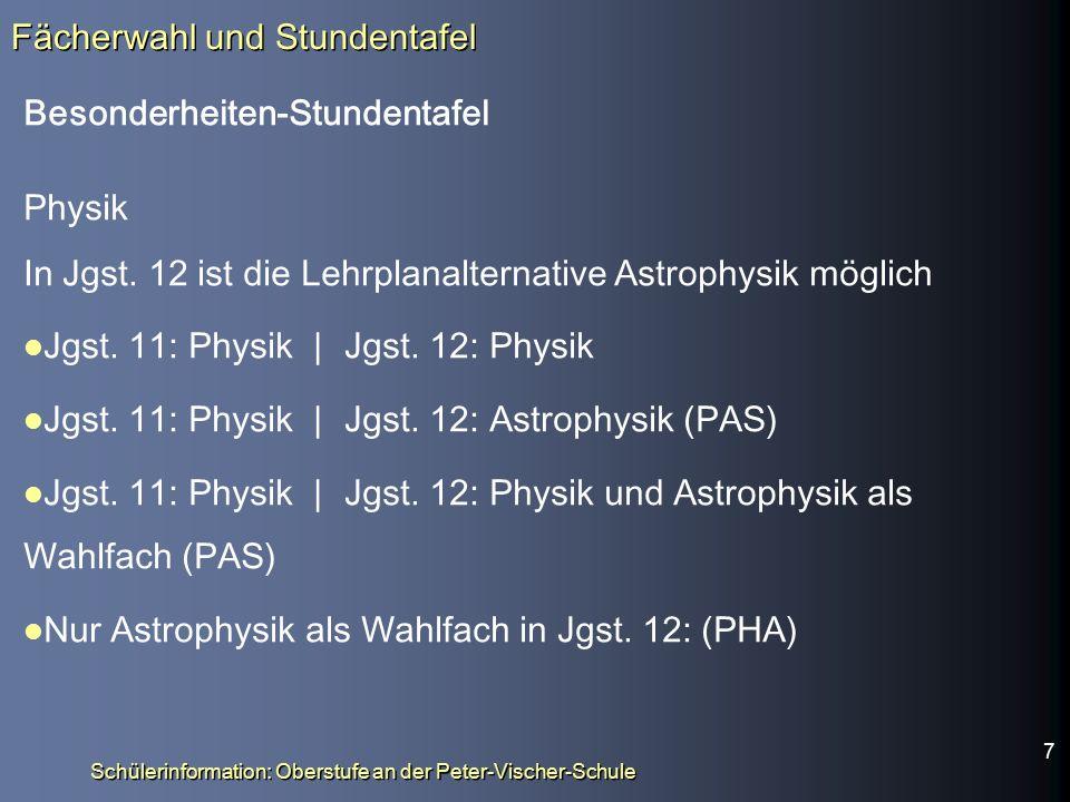 Schülerinformation: Oberstufe an der Peter-Vischer-Schule Besonderheiten-Stundentafel Physik In Jgst.