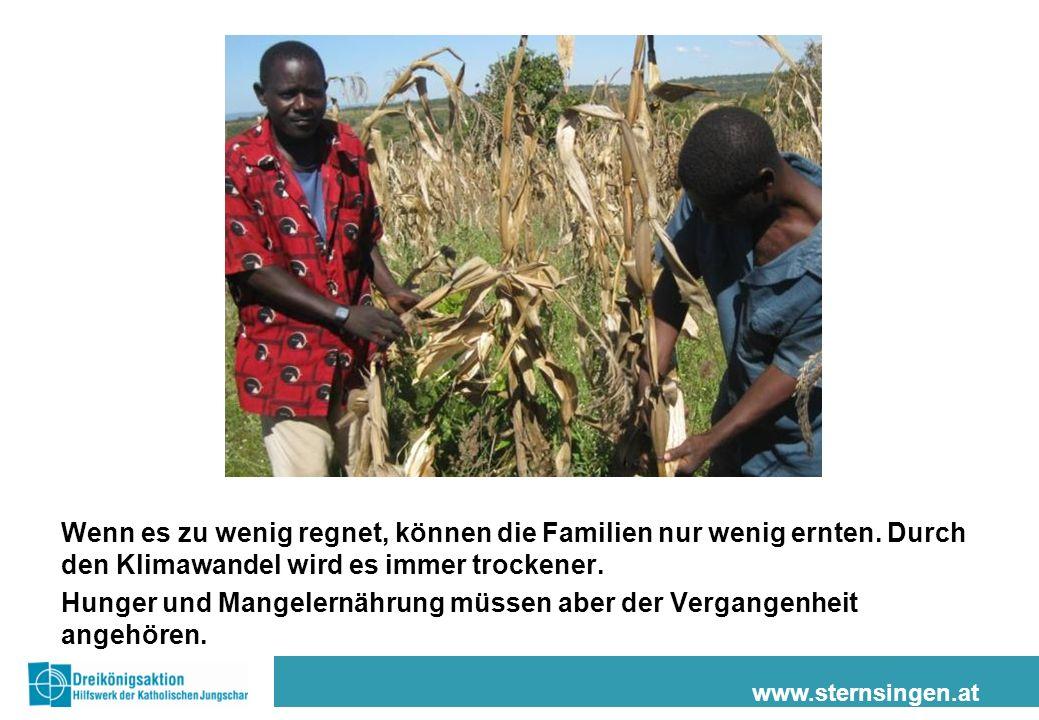www.sternsingen.at Wenn es zu wenig regnet, können die Familien nur wenig ernten.