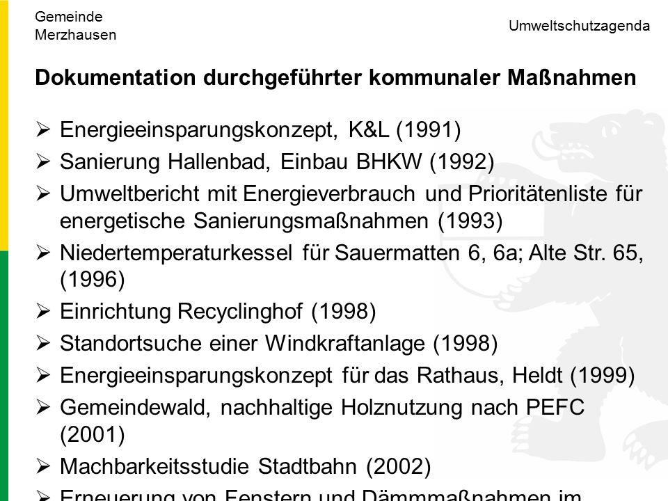 Umweltschutzagenda Dokumentation durchgeführter kommunaler Maßnahmen  Energieeinsparungskonzept, K&L (1991)  Sanierung Hallenbad, Einbau BHKW (1992)  Umweltbericht mit Energieverbrauch und Prioritätenliste für energetische Sanierungsmaßnahmen (1993)  Niedertemperaturkessel für Sauermatten 6, 6a; Alte Str.