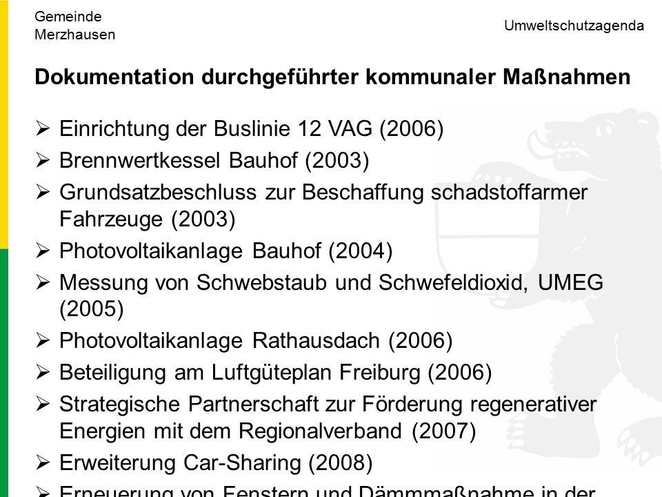 Umweltschutzagenda Dokumentation durchgeführter kommunaler Maßnahmen  Einrichtung der Buslinie 12 VAG (2006)  Brennwertkessel Bauhof (2003)  Grundsatzbeschluss zur Beschaffung schadstoffarmer Fahrzeuge (2003)  Photovoltaikanlage Bauhof (2004)  Messung von Schwebstaub und Schwefeldioxid, UMEG (2005)  Photovoltaikanlage Rathausdach (2006)  Beteiligung am Luftgüteplan Freiburg (2006)  Strategische Partnerschaft zur Förderung regenerativer Energien mit dem Regionalverband (2007)  Erweiterung Car-Sharing (2008)  Erneuerung von Fenstern und Dämmmaßnahme in der Schule (2009) Gemeinde Merzhausen