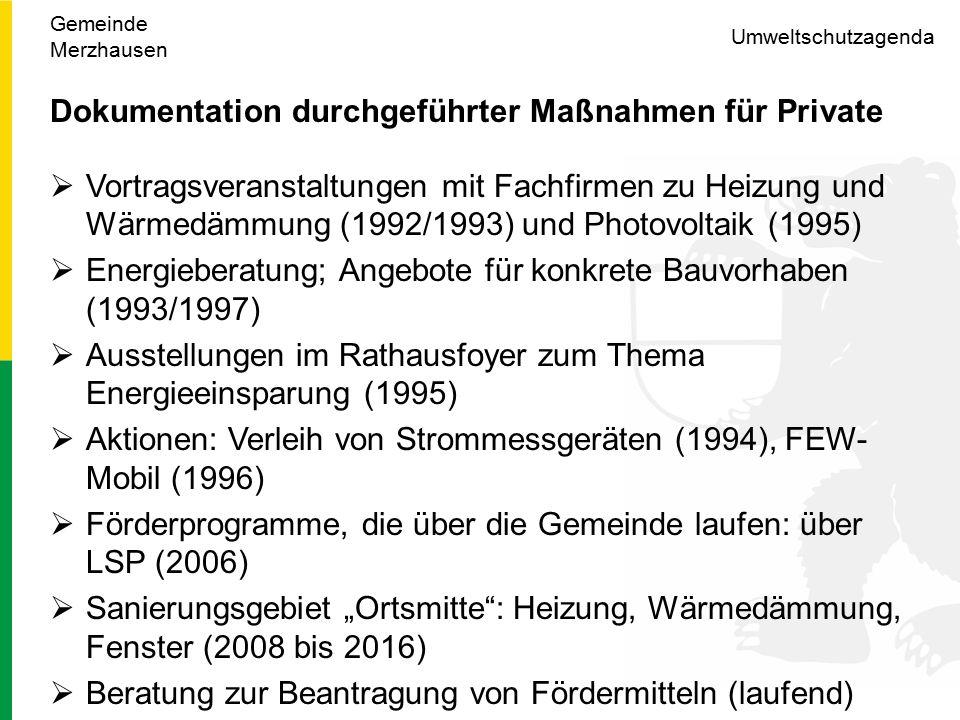 """Umweltschutzagenda Dokumentation durchgeführter Maßnahmen für Private  Vortragsveranstaltungen mit Fachfirmen zu Heizung und Wärmedämmung (1992/1993) und Photovoltaik (1995)  Energieberatung; Angebote für konkrete Bauvorhaben (1993/1997)  Ausstellungen im Rathausfoyer zum Thema Energieeinsparung (1995)  Aktionen: Verleih von Strommessgeräten (1994), FEW- Mobil (1996)  Förderprogramme, die über die Gemeinde laufen: über LSP (2006)  Sanierungsgebiet """"Ortsmitte : Heizung, Wärmedämmung, Fenster (2008 bis 2016)  Beratung zur Beantragung von Fördermitteln (laufend) Gemeinde Merzhausen"""