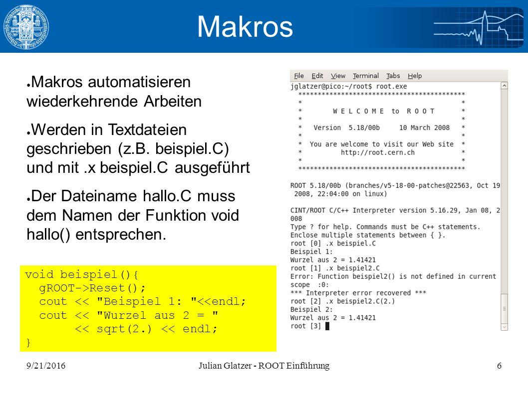 9/21/2016Julian Glatzer - ROOT Einführung37 Ein komplizierterer Fit