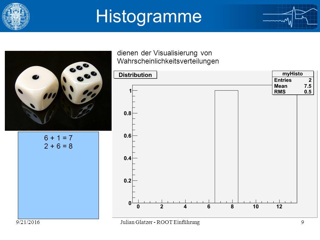 9/21/2016Julian Glatzer - ROOT Einführung40 2D-Histogramme void twodhistos(){ gROOT->Reset(); gStyle->SetPalette(1); TCanvas *c1 = new TCanvas( c1 , Canvas fuer viele Histogramme ,800,800); c1->Divide(2,2); TH2F *h2 = new TH2F( h2 , Energie vs Impuls ,40,-5.,5.,40,-5.,5.); h2->FillRandom( gaus ,6000); h2->GetXaxis()->SetTitle( Energie E (GeV) ); h2->GetYaxis()->SetTitle( Impuls p (GeV) ); h2->GetZaxis()->SetTitle( Ereignisse ); TF2* f2=new TF2( func2 , sin(x)*sin(y)/(x*y) ,-10.,10.,-10.,10.); c1->cd(1); h2->GetXaxis()->SetTitleOffset(1.5); h2->GetYaxis()->SetTitleOffset(1.5); h2->GetZaxis()->SetTitleOffset(1.2); h2->Draw( LEGO2 ); c1->cd(2); h2->Draw( COL ); c1->cd(3); f2->Draw( SURF1 ); c1->cd(4); f2->Draw( COLZ ); }