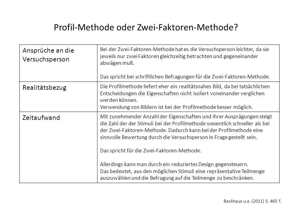 Profil-Methode oder Zwei-Faktoren-Methode.