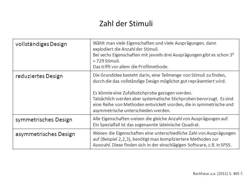 Zahl der Stimuli Backhaus u.a. (2011) S. 465 f.