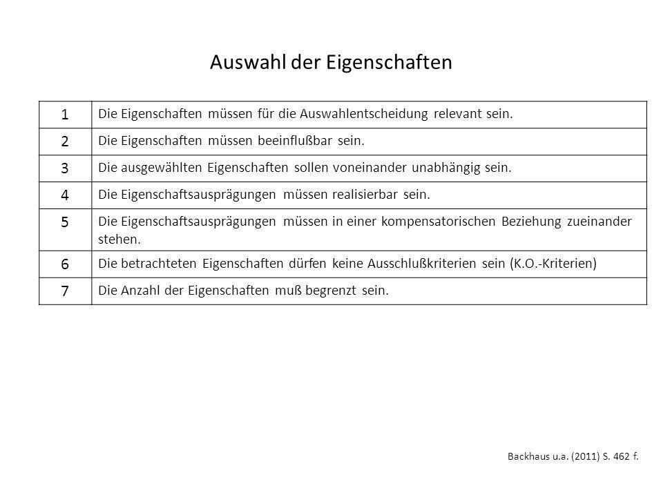 Auswahl der Eigenschaften Backhaus u.a. (2011) S.